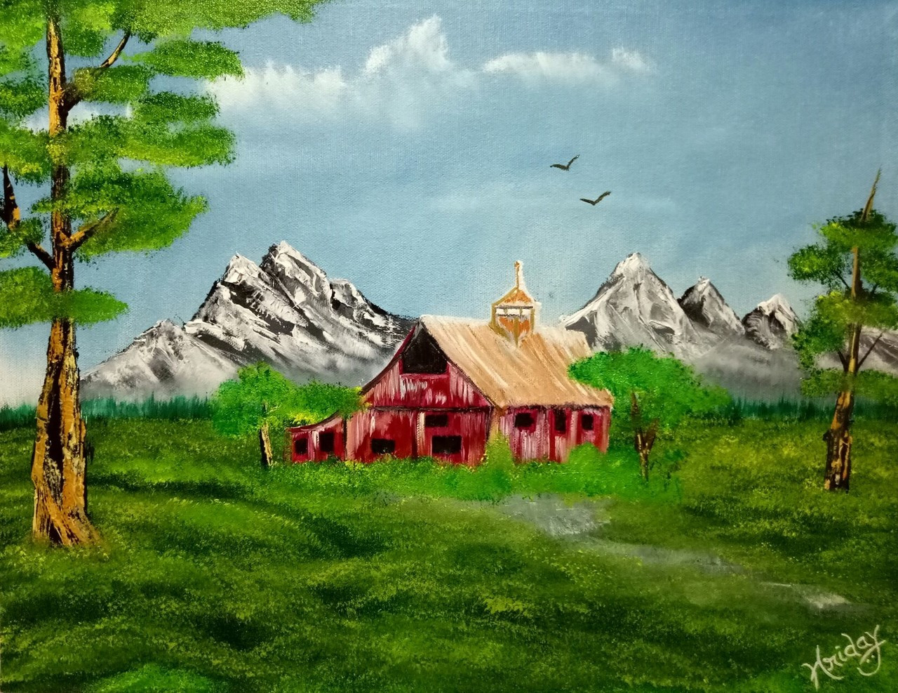 Buy Forest Red Barn Handmade Painting by HRIDAY DAS. Code ...
