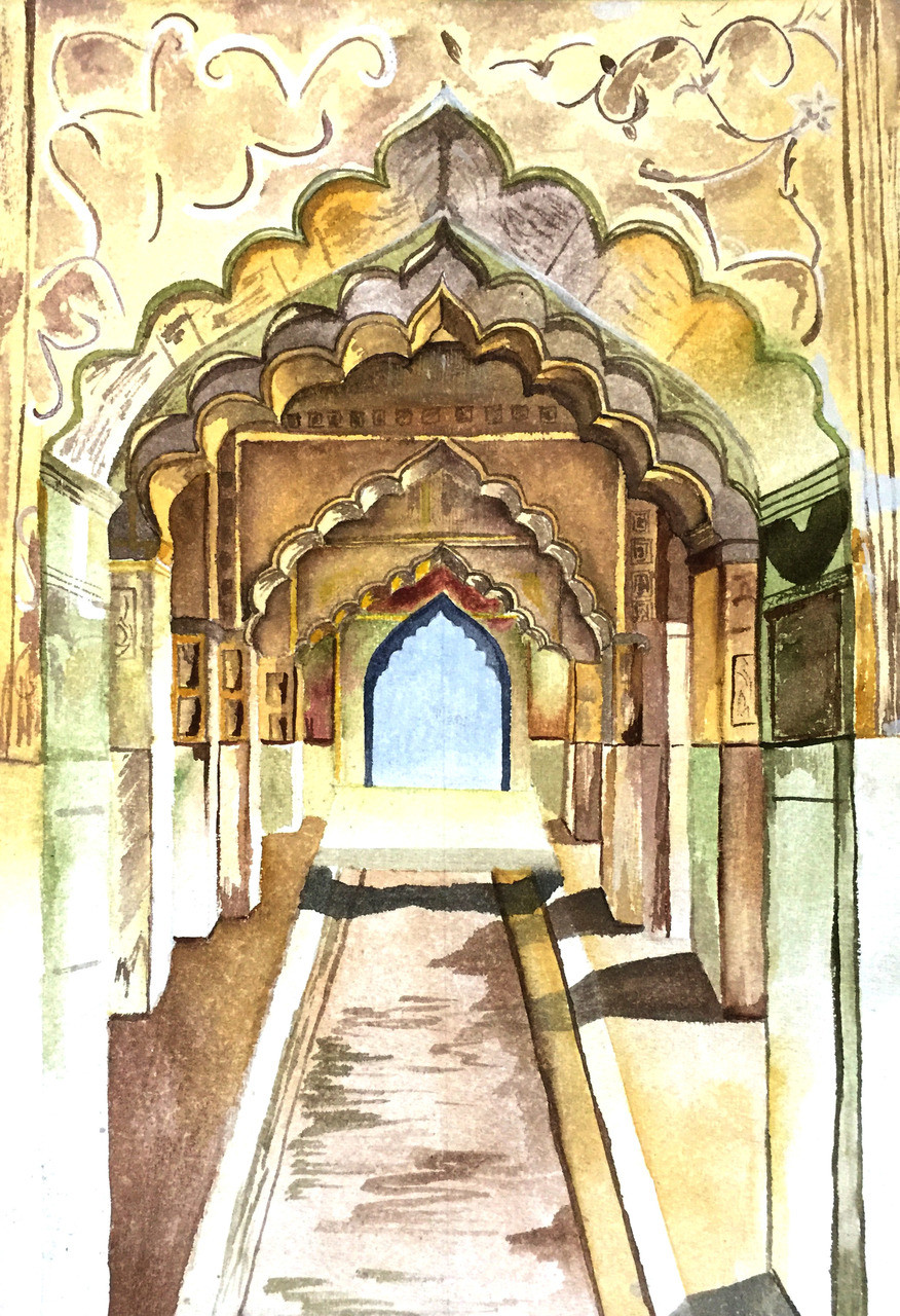 Buy The Arches Of Red Fort Handmade Painting By Neha
