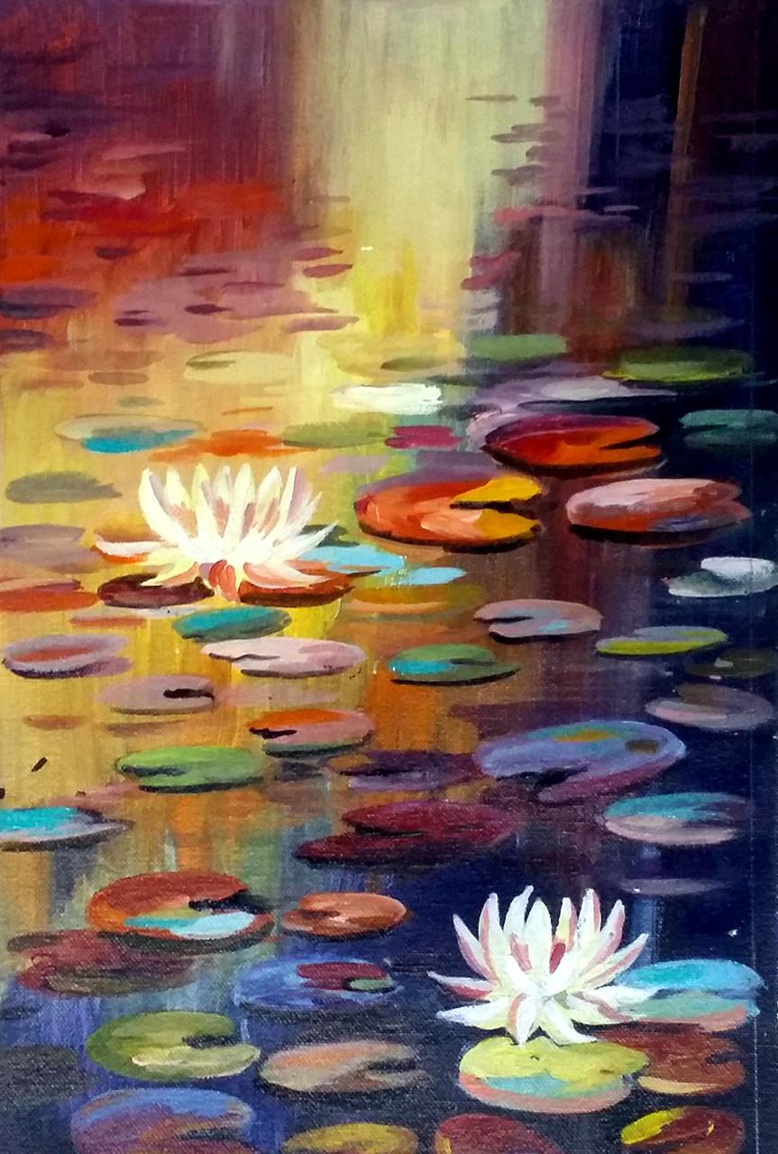 Buy lotus and pond handmade painting by samiran sarkar code lotusflowerfloralpaintingcanvasacrylicnaturelotus izmirmasajfo