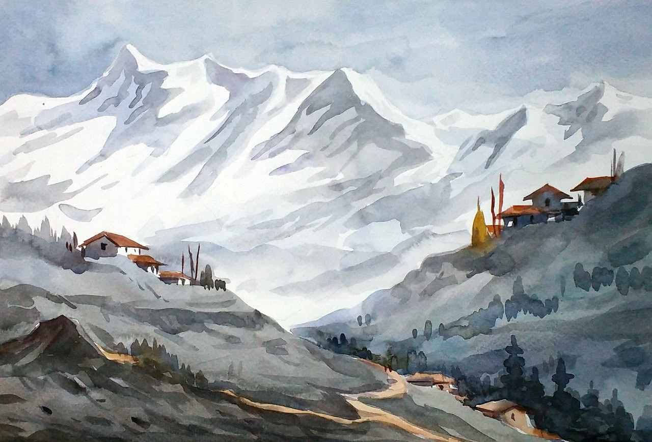 Buy Majestic Himalayan Landscape Handmade Painting By