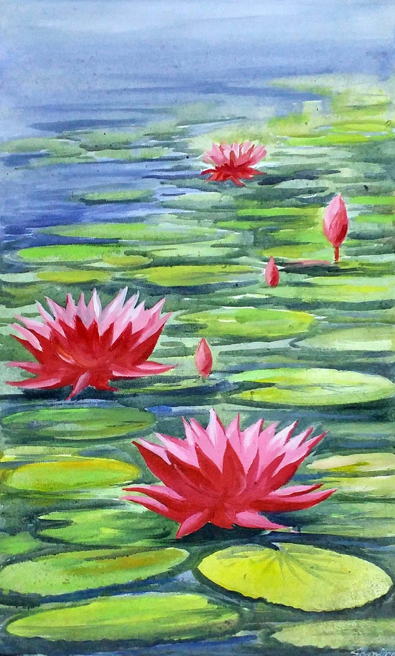Buy beauty of lotus handmade painting by samiran sarkar code lotusflowerfloralpaintingcanvasacrylicnaturewater izmirmasajfo