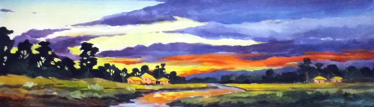 buy sunset village handmade painting by samiran sarkar code