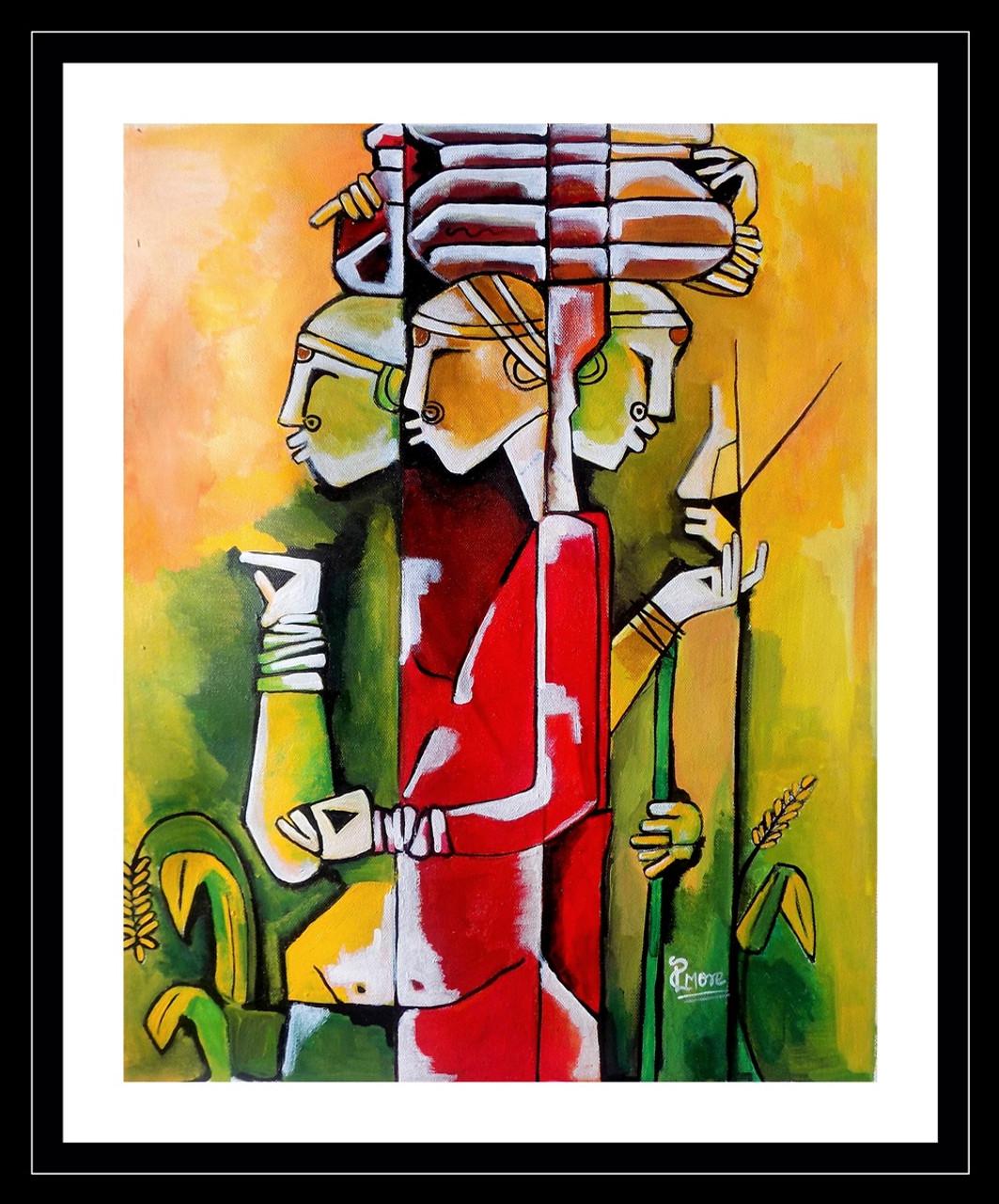 Delightful Modern Art,ART_1033_5002,Artist : PARESH MORE,acrylic On Canvas