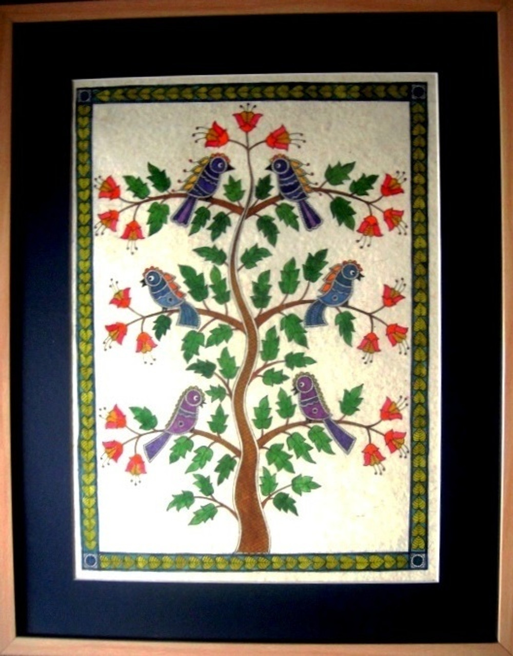 Chirping Tree - 15in X 19in (framed),ART_MASL4_1519,Ink ,Handmade ...