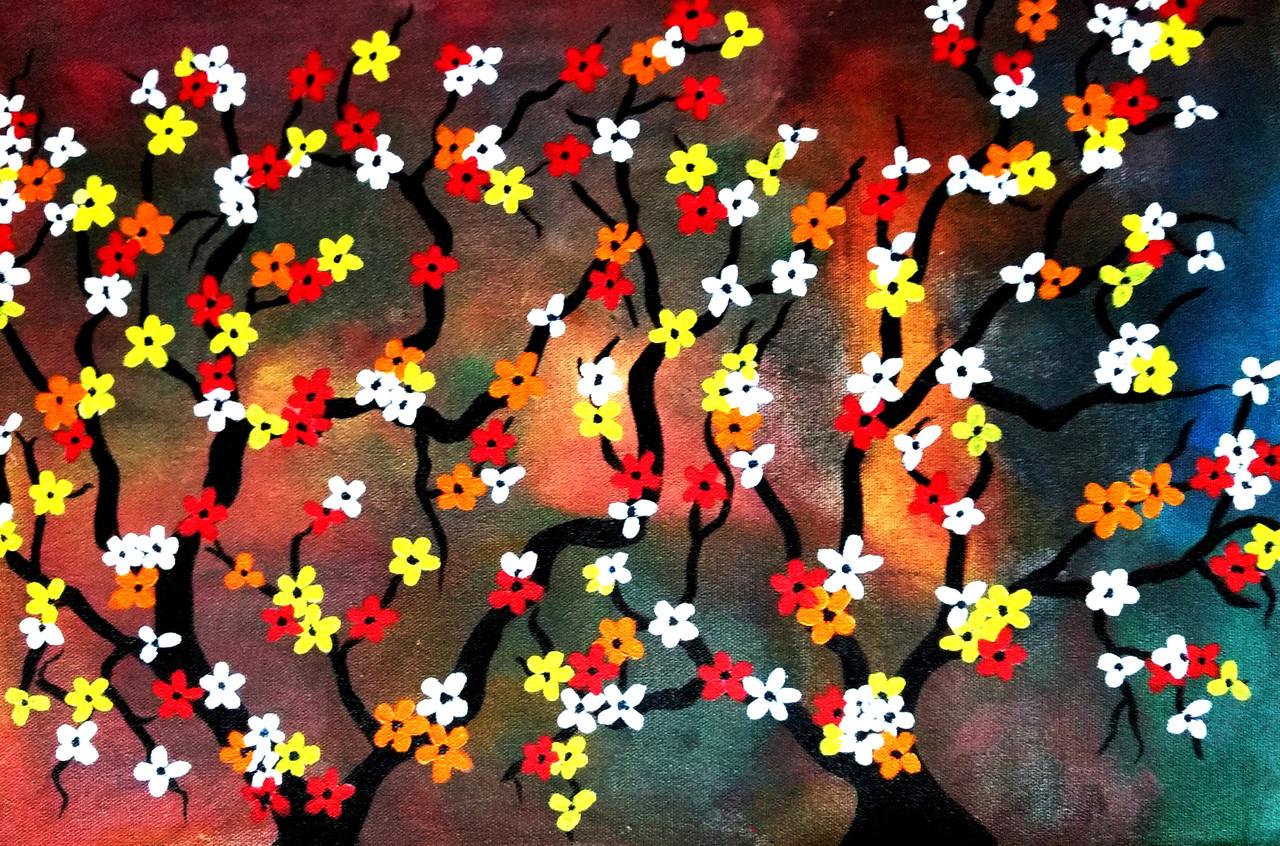 Buy Flowers Of heaven Handmade Painting by Shweta H Kaul. Code ...