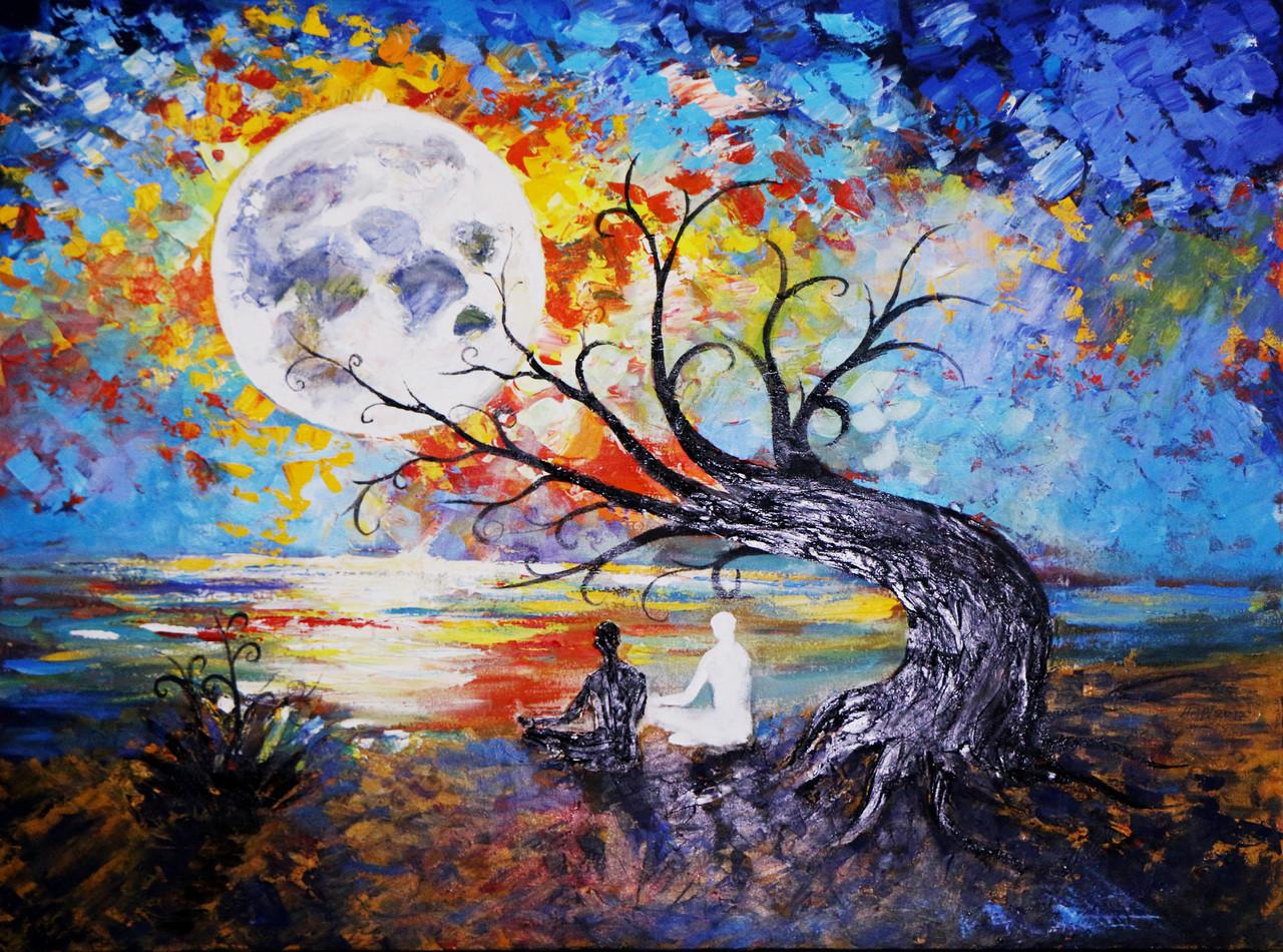 Buy full moon meditation handmade painting by arif ahmed - Meditation art wallpaper ...