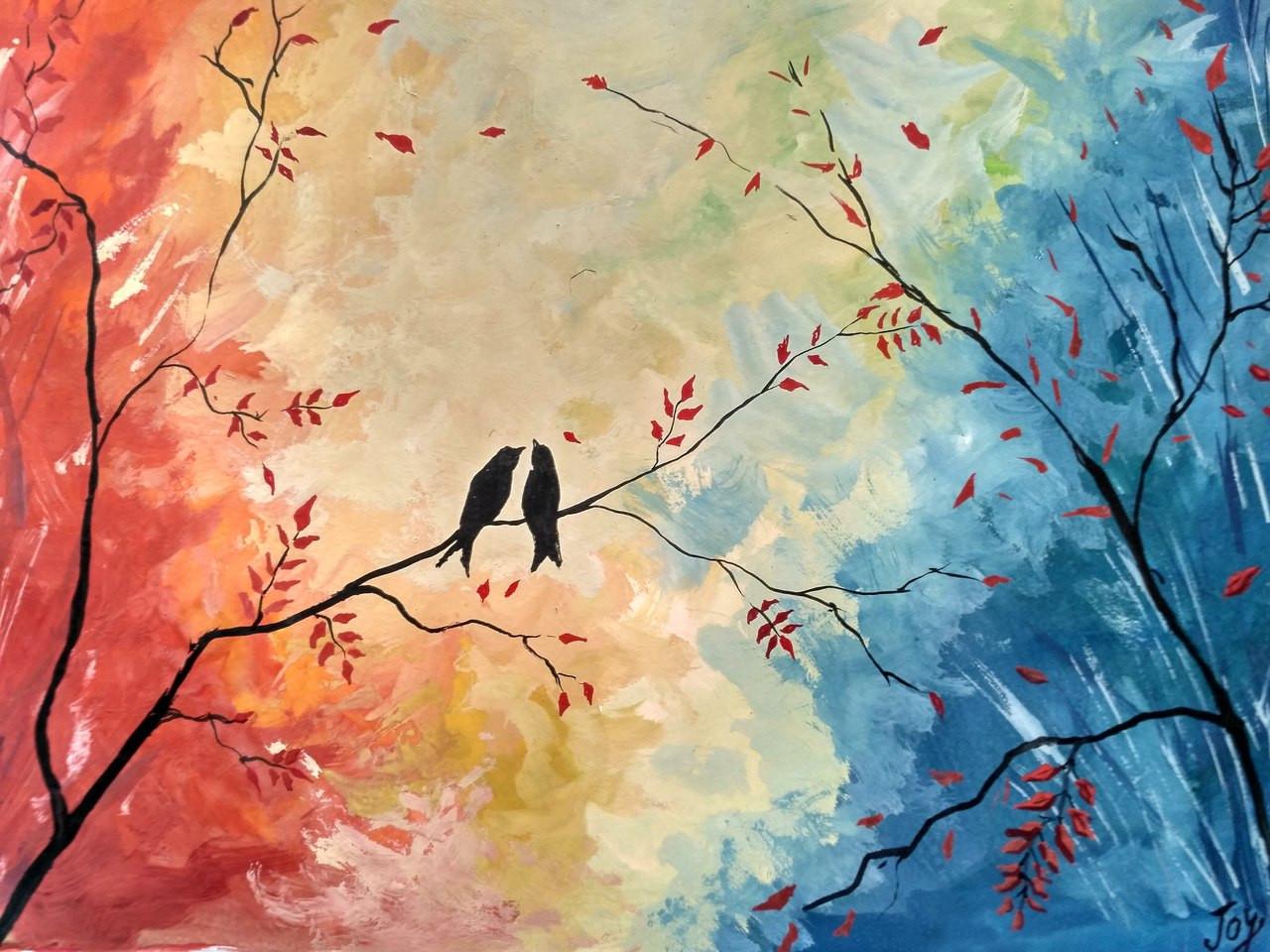 Buy Autumn Birds Handmade Painting By Anirban Kar Code