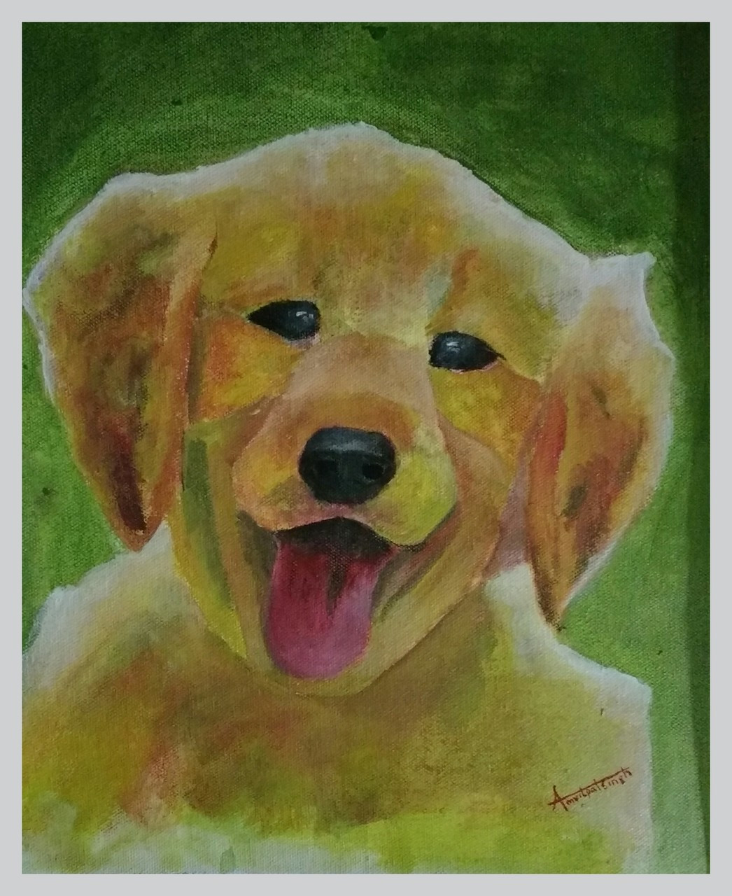 Dog Cat Companion Partner Animals Animal Cute Puppy Wild Acrylic Oil Canvas PaintingMY PARTNER