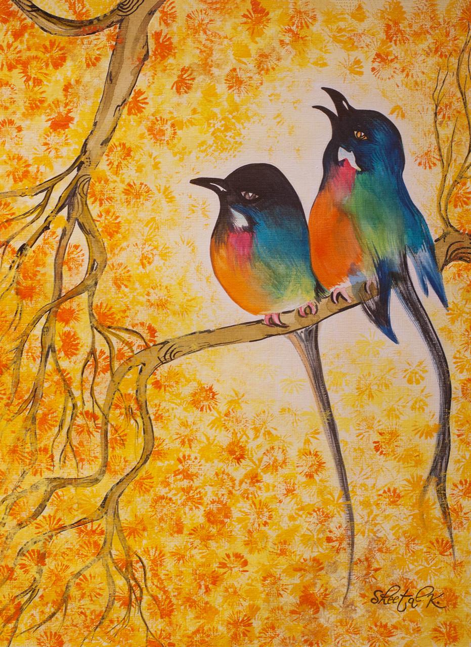 Buy Bird painting. Handmade Painting by Sheetal Kshatriya. Code ...