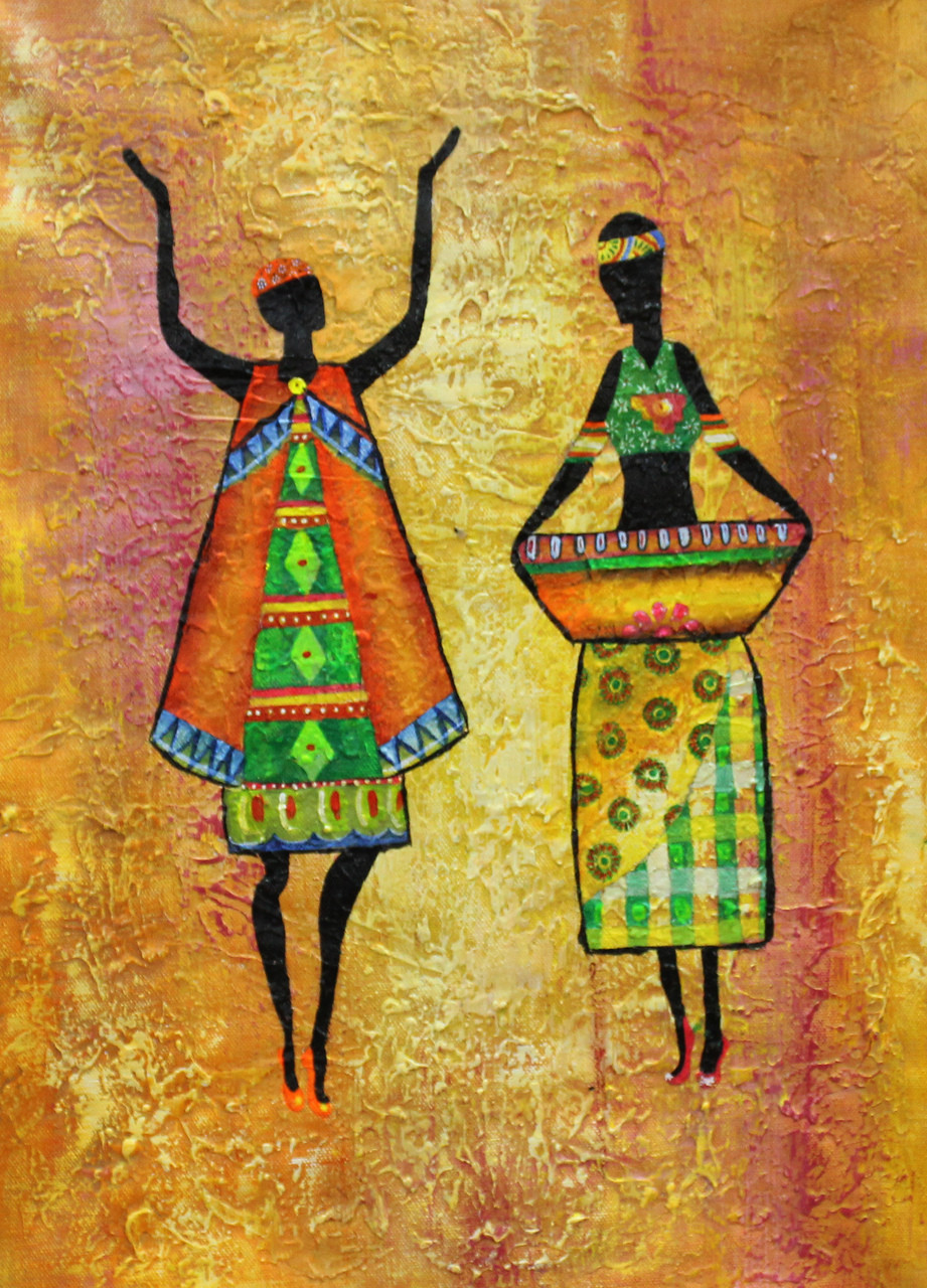 buy african art 02 handmade painting by ram achal code. Black Bedroom Furniture Sets. Home Design Ideas