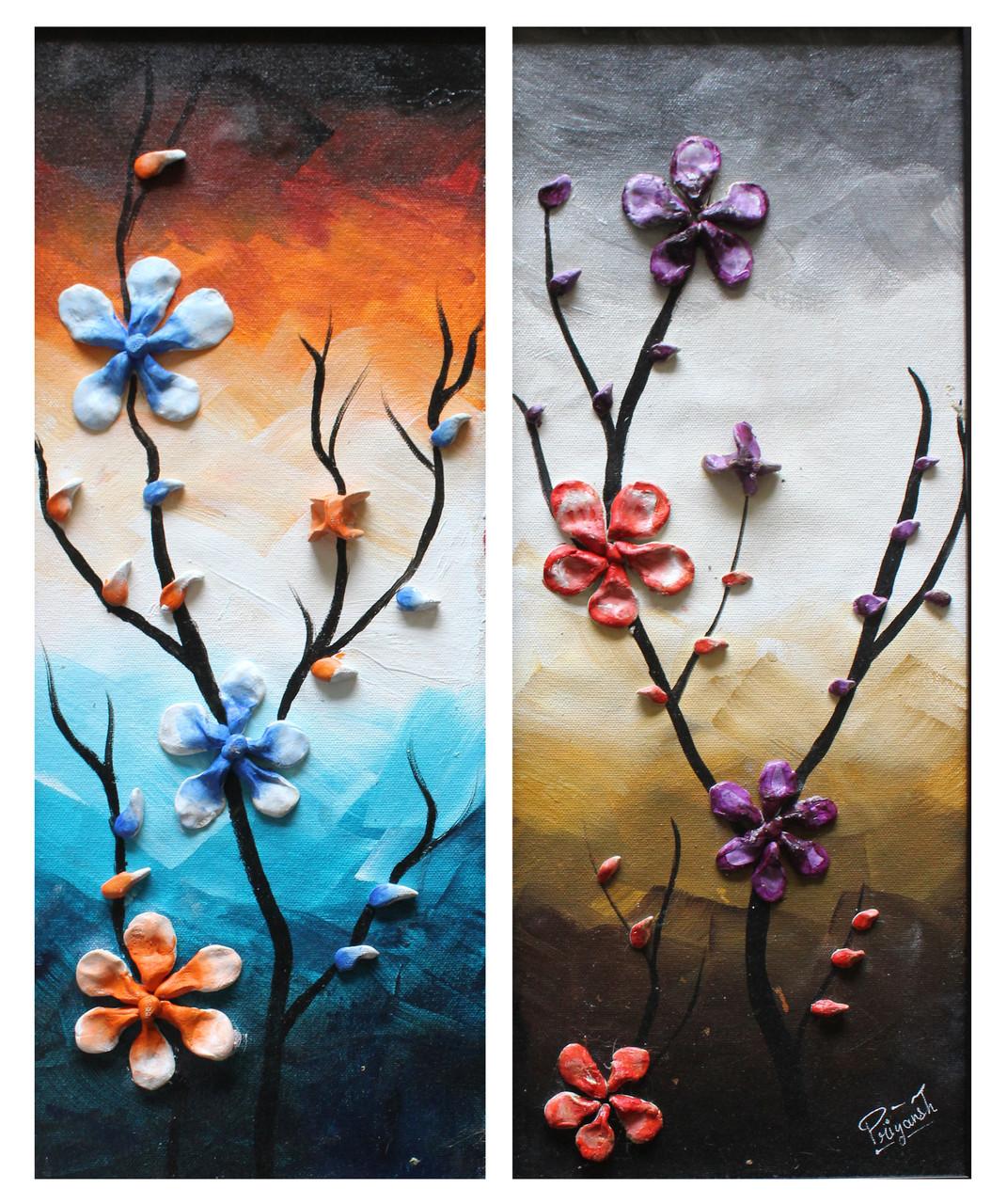 Buy 3D Flowers Handmade Painting By Priyansh Thakkar. Code