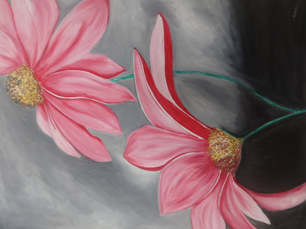 Buy pink flower painting with grey background handmade painting by flower oil paintingpink flower painting with grey backgroundart286220165artist triveni mightylinksfo