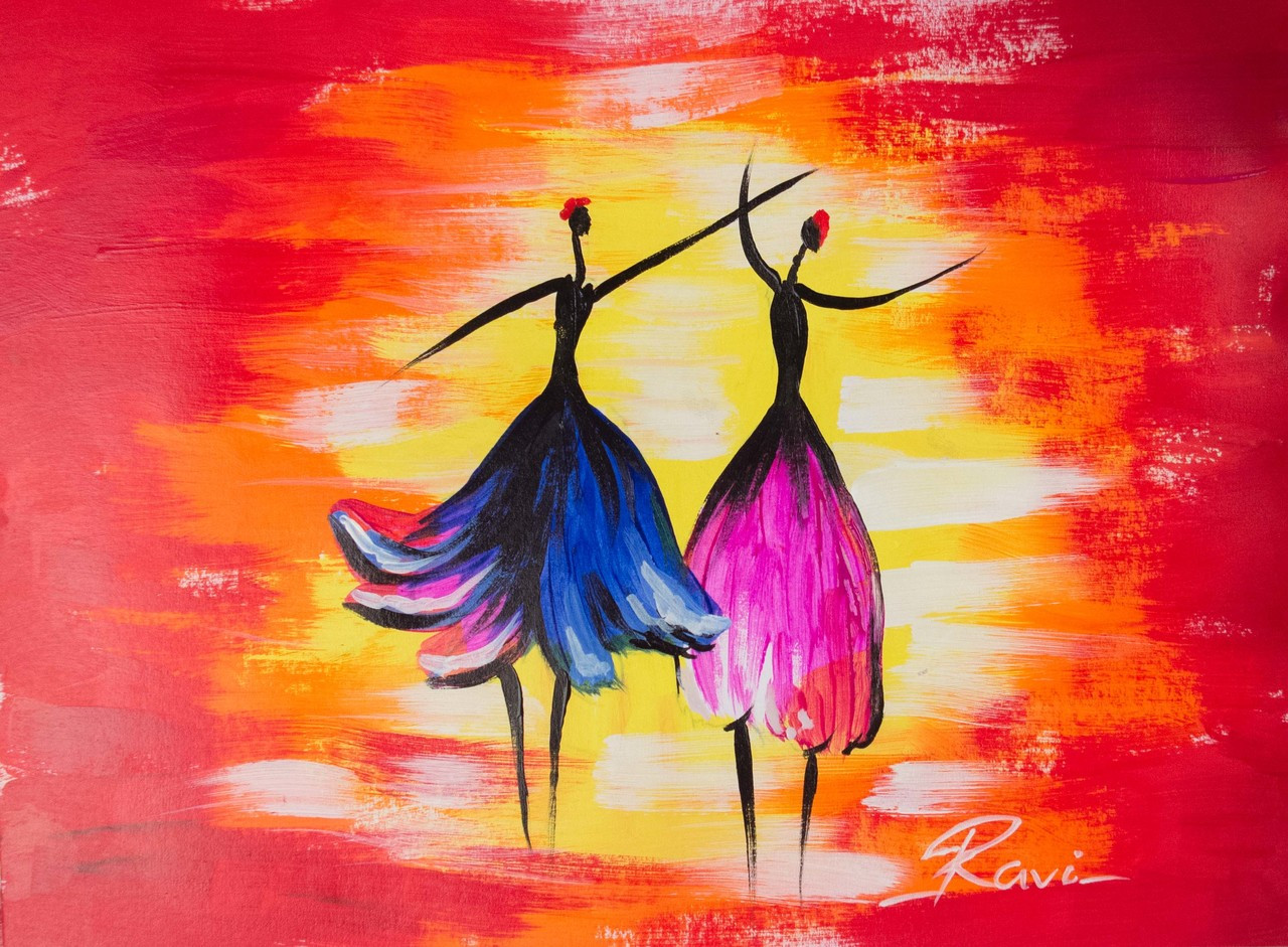 buy two dancing girls in a festival handmade painting by ravi