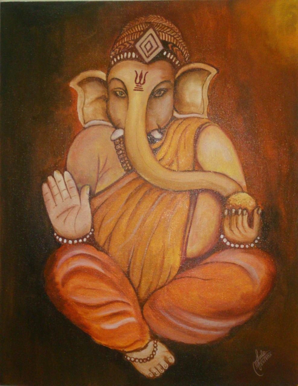 Lord Ganesha Canvas PaintingLord GaneshaART 2979 20635Artist MONALI GHULEAcrylic