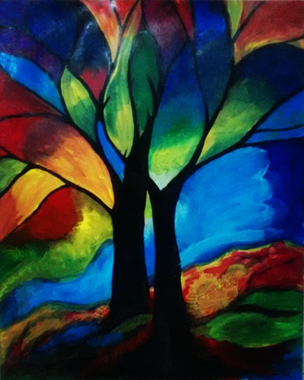 Buy Rainbow Forest Handmade Painting by Neha Gupta. Code ...