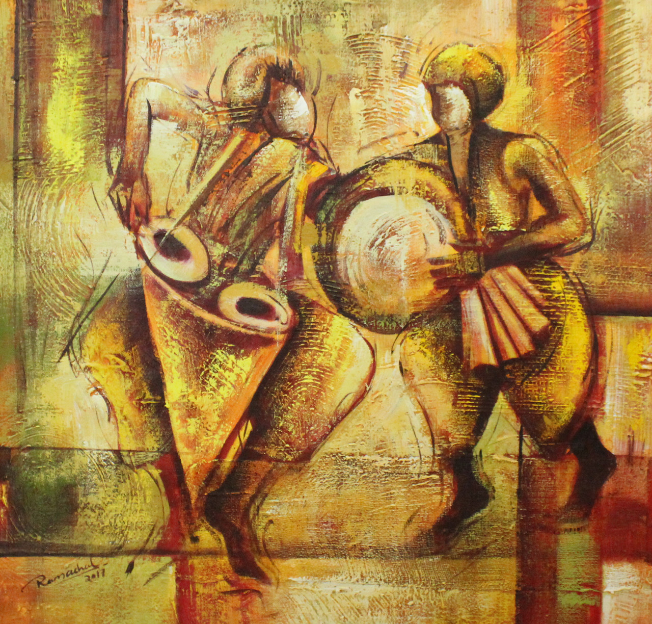 Buy indian musical art 07 handmade painting by ram achal for Buy art online india