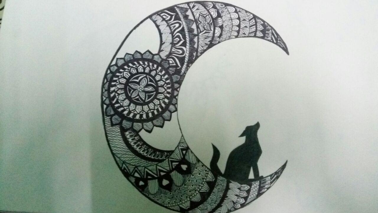 Moon Mandala Animal Creativity Wolf Designing Wall Hanging Painting