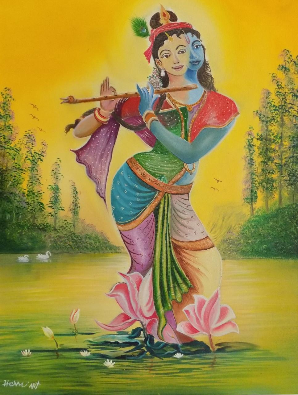 Buy HemArts – 004 Radhe Krishna Handmade Painting by Hem Art. Code ...