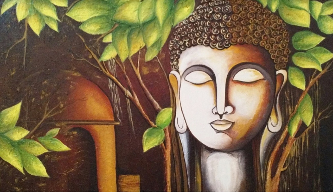 Buy textured buddha acrylic canvas painting Handmade Painting by