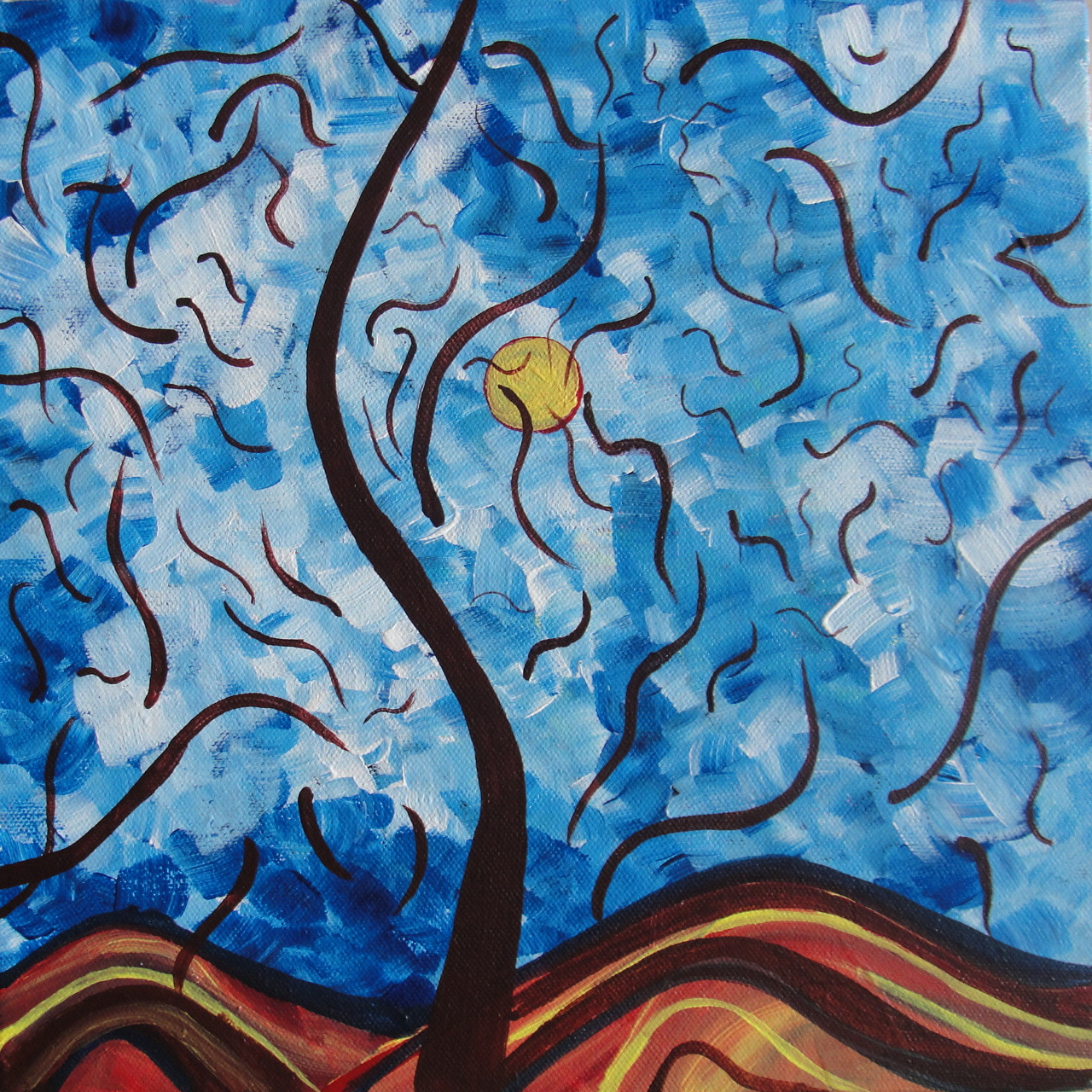 buy abstract nature art 12 x 12 inch handmade painting by indhuja