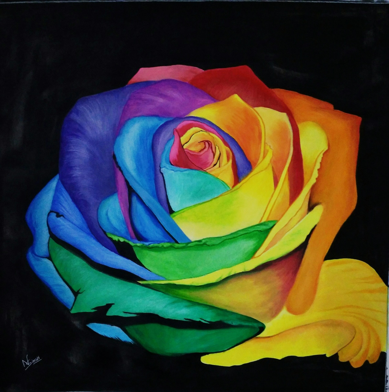Buy Beautiful Rose Handmade Painting by Nagendra Singh. Code:ART_2819_22493 - Paintings for Sale ...