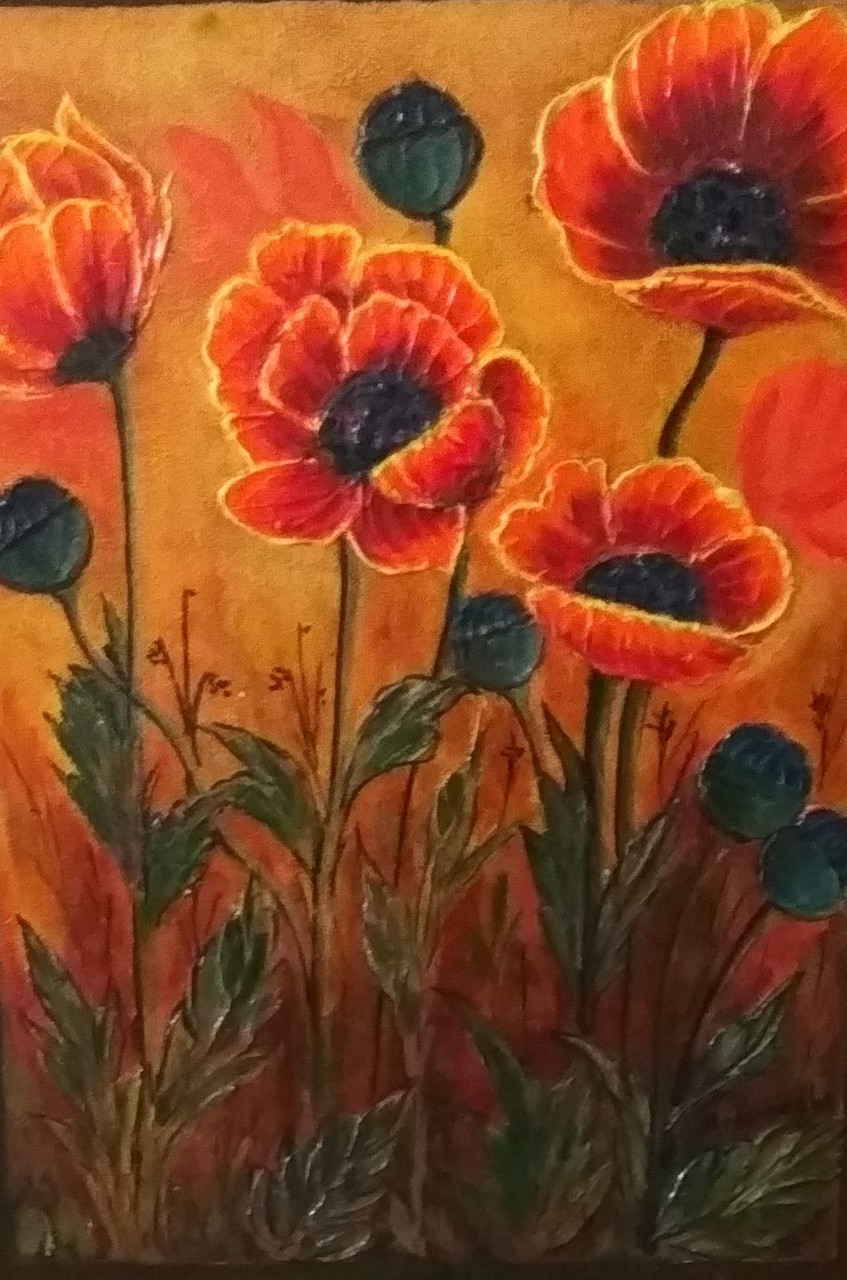 Buy poppy flowers handmade painting by anuradha kulkarni code poppy flowers art319421362 handpainted art painting 12in x 16in mightylinksfo