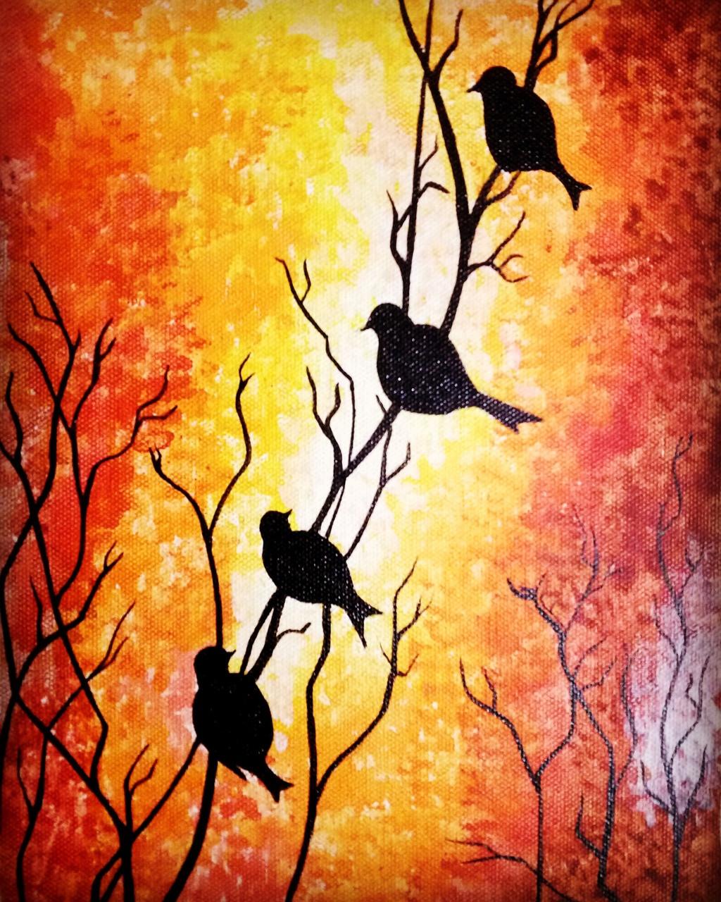 Buy Birds silhouette Handmade Painting by Yashika Tiwari. Code ...