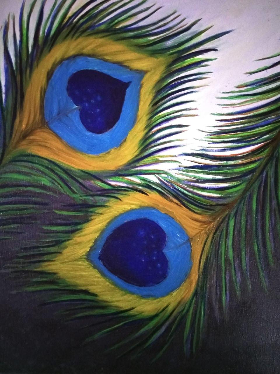 Buy Peacock Feather Handmade Painting By Saish Kalangutkar