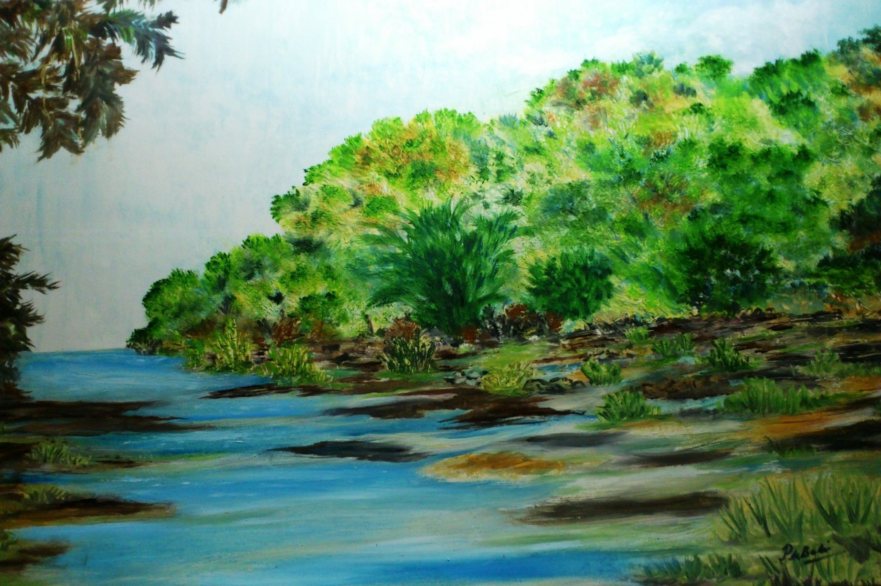 Stray Rivulet - 28in X 22in,ART_PDBI23_2822,Oil Colors,Paper,Artist ...