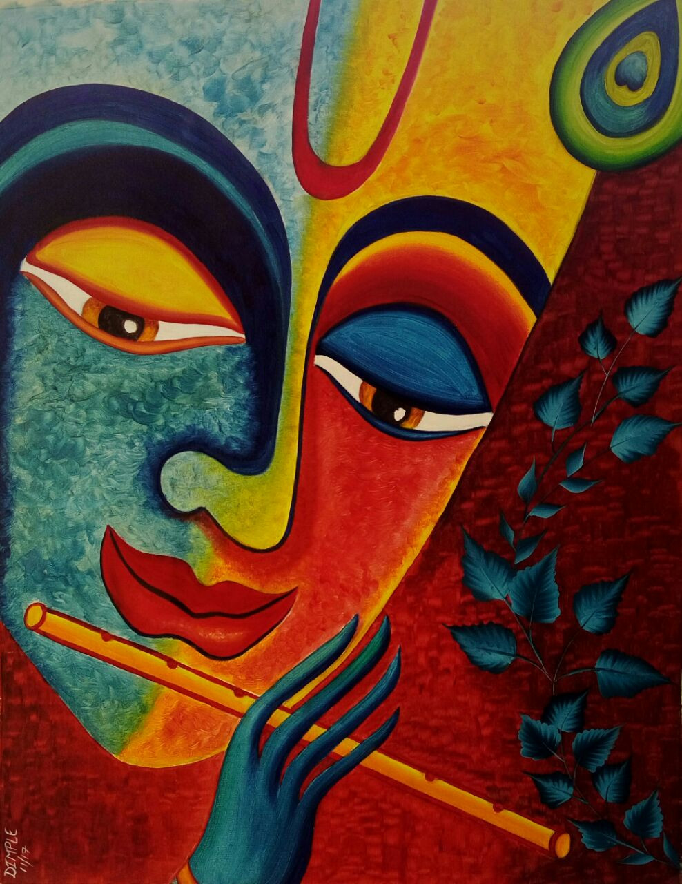 Buy Colors of Lord Krishna Handmade Painting by Dimple ...
