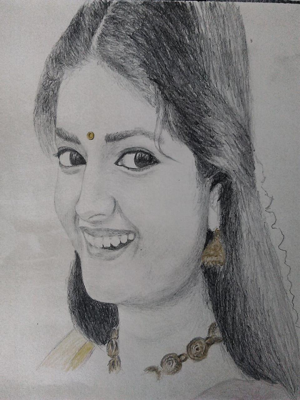 Keerthi suresh handmade art art 3850 24481 handpainted art painting 8in x 12in