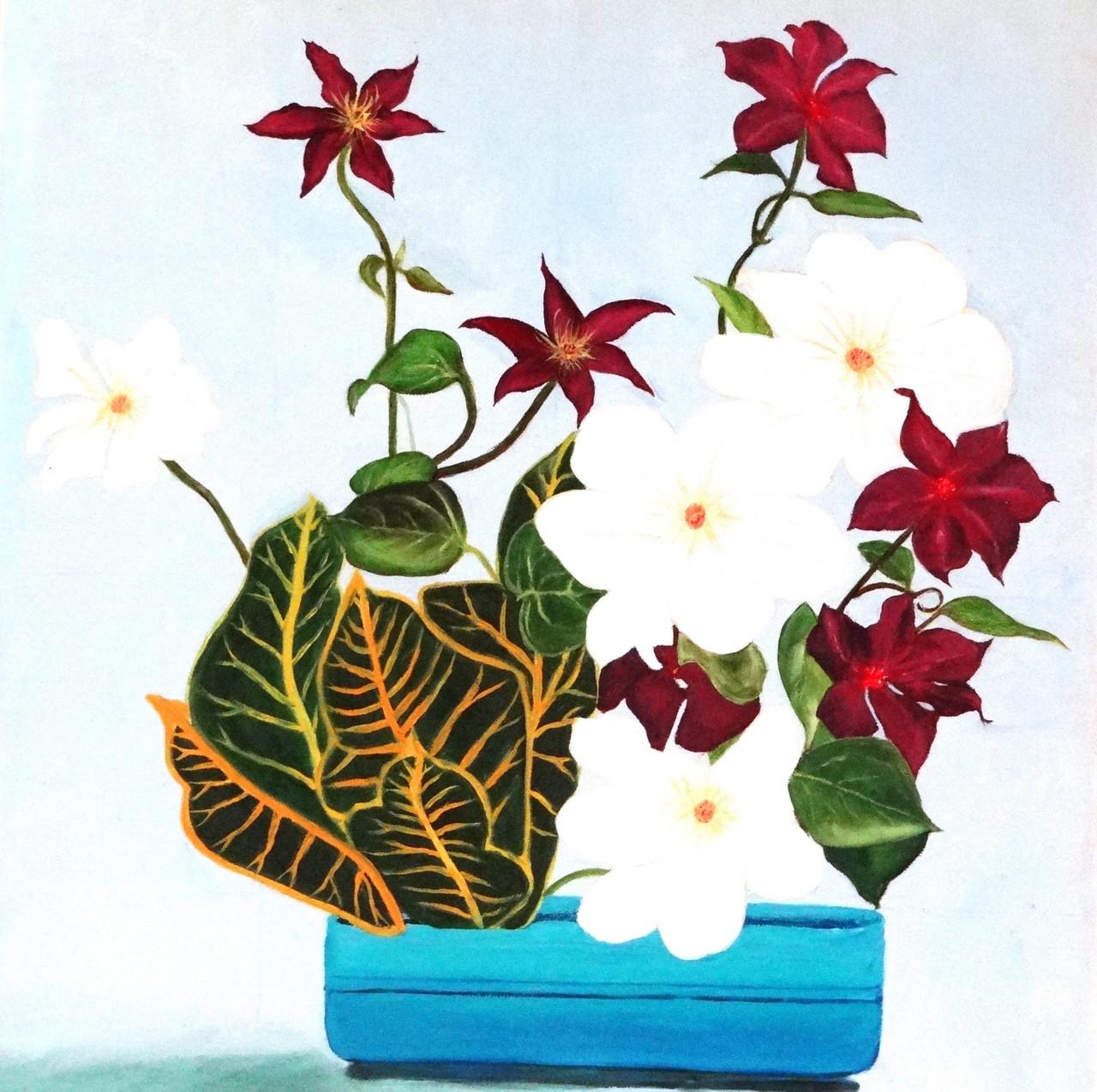Buy White & Maroon Flowers Handmade Painting by Vineeta Sahi. Code ...