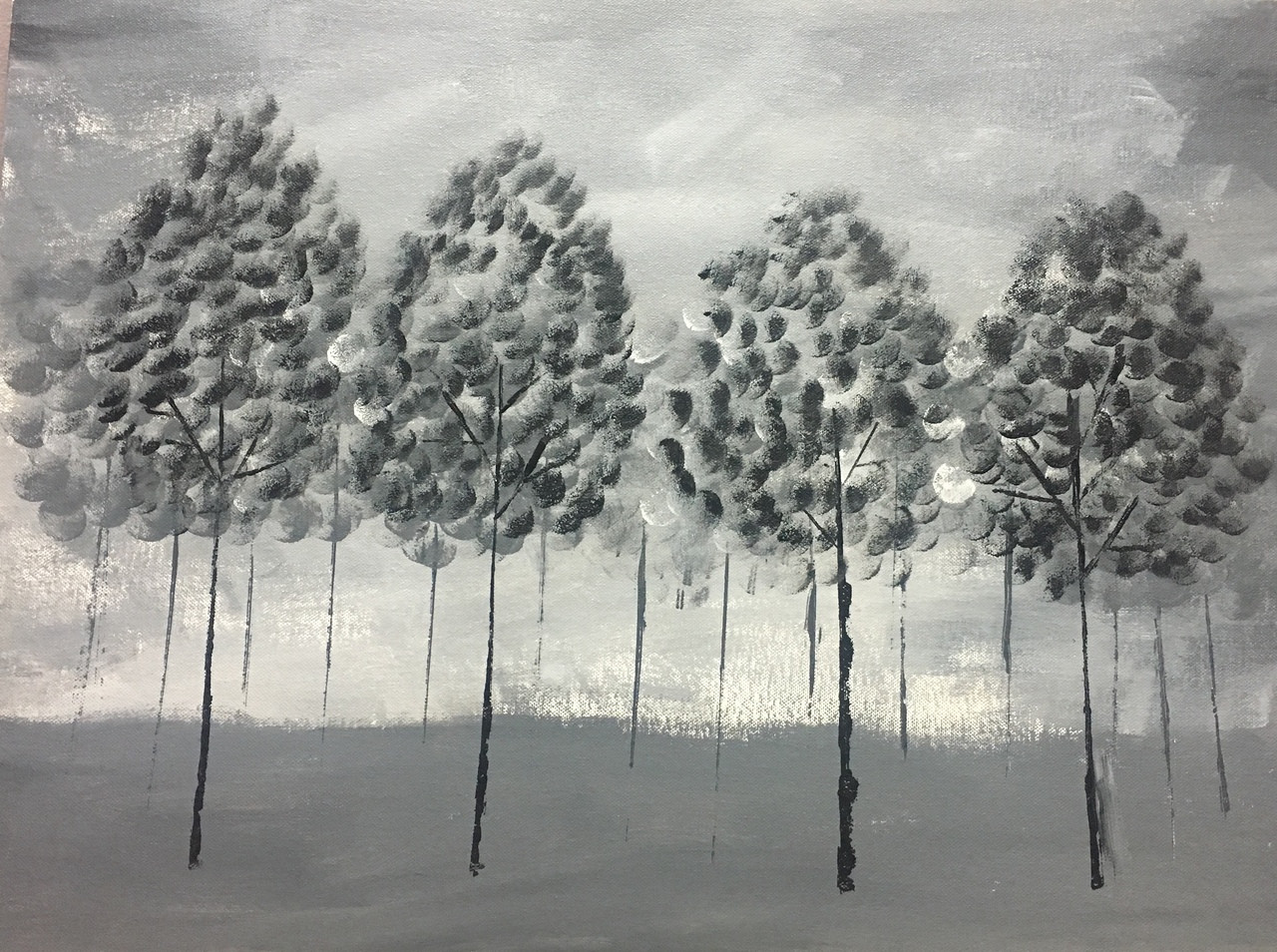 Black and white trees art 3551 25383 handpainted art painting 24in x 18in