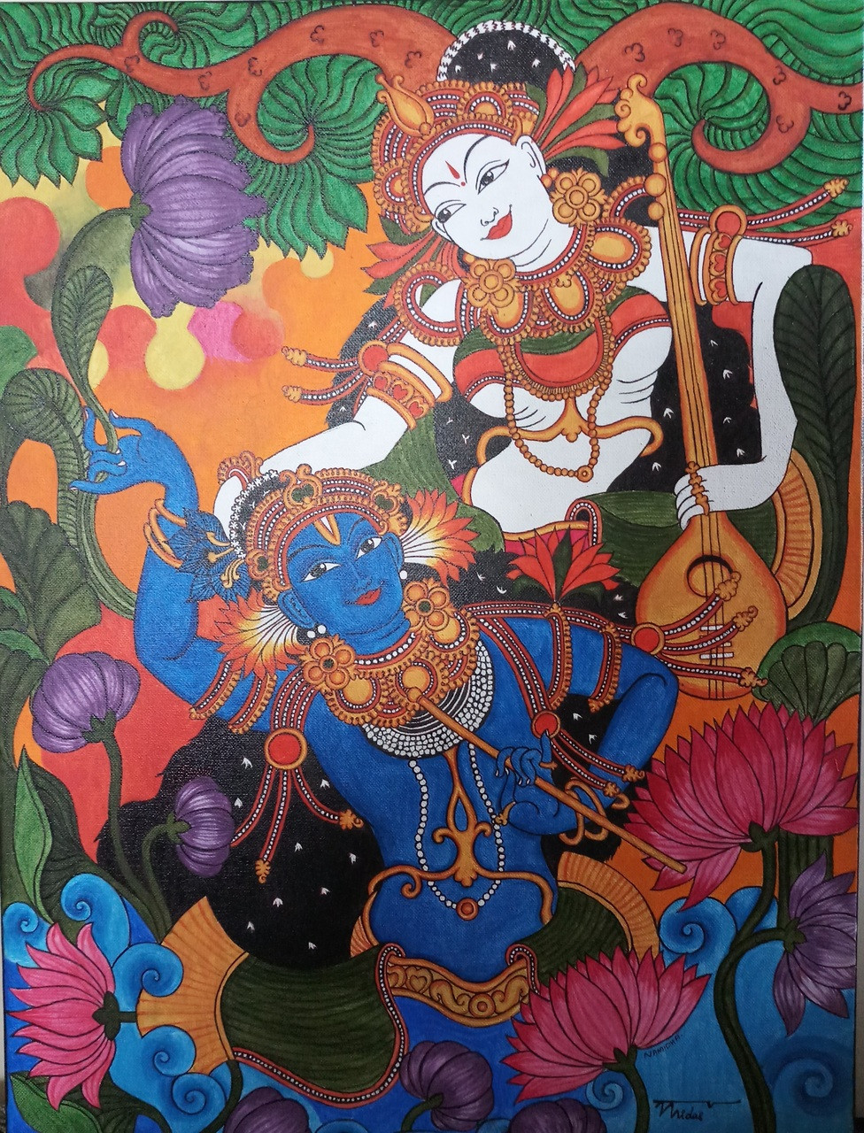 Mural Painting Of Krishna And Radha ART 4001 25166