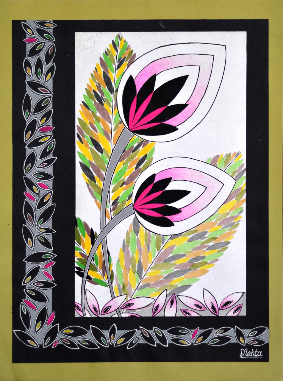 Buy pair of lotus flowers handmade painting by kundan arts code pair of lotus flowers art422326411 handpainted art painting 22in x 30in izmirmasajfo