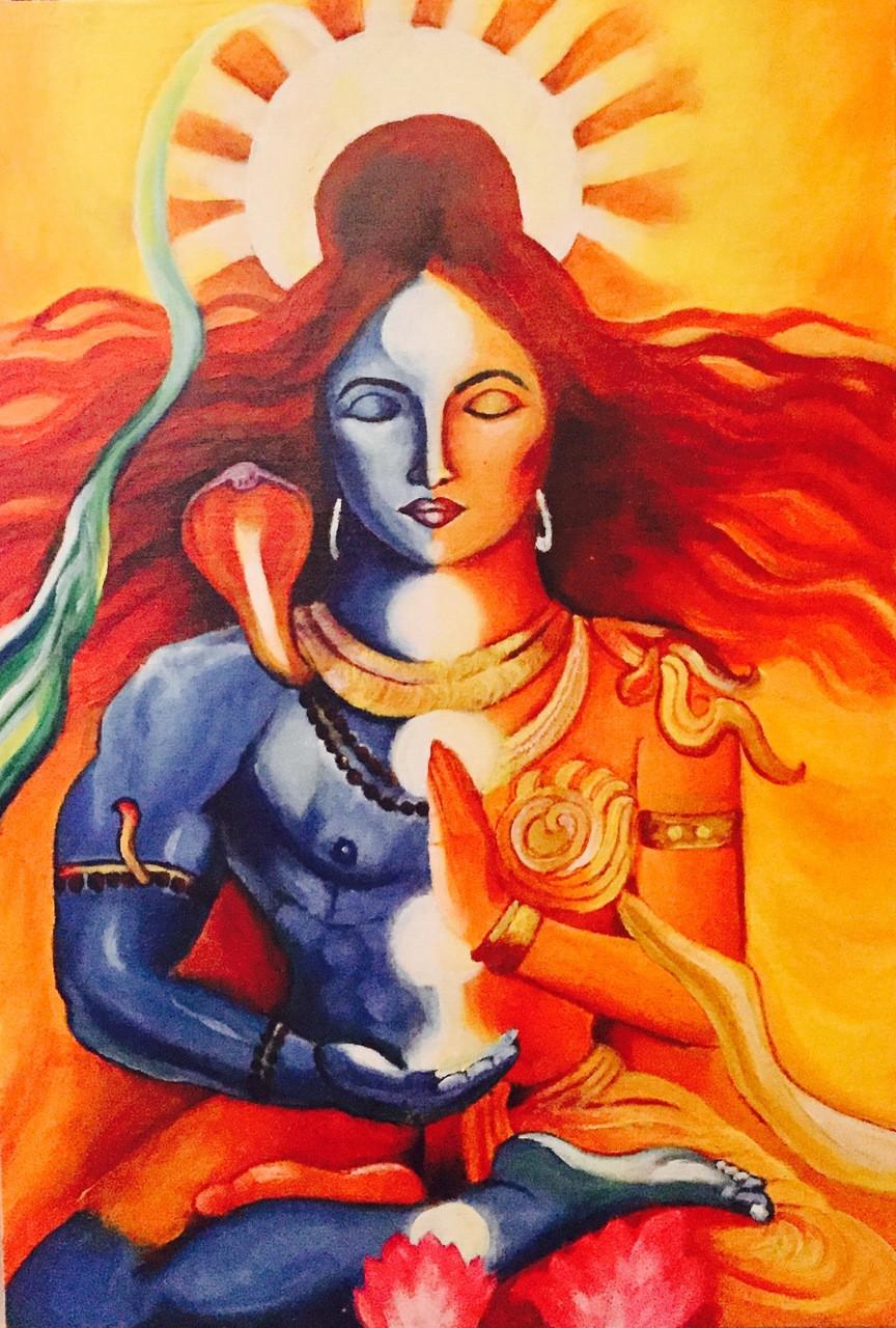 Buy Lord Shiva Ardhnarishwar Painting Handmade Painting By