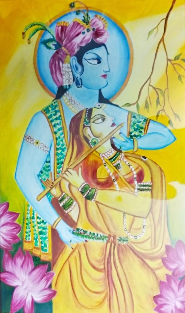 Buy Radha Krishna Handmade Painting by ANJALI SAXENA. Code ...