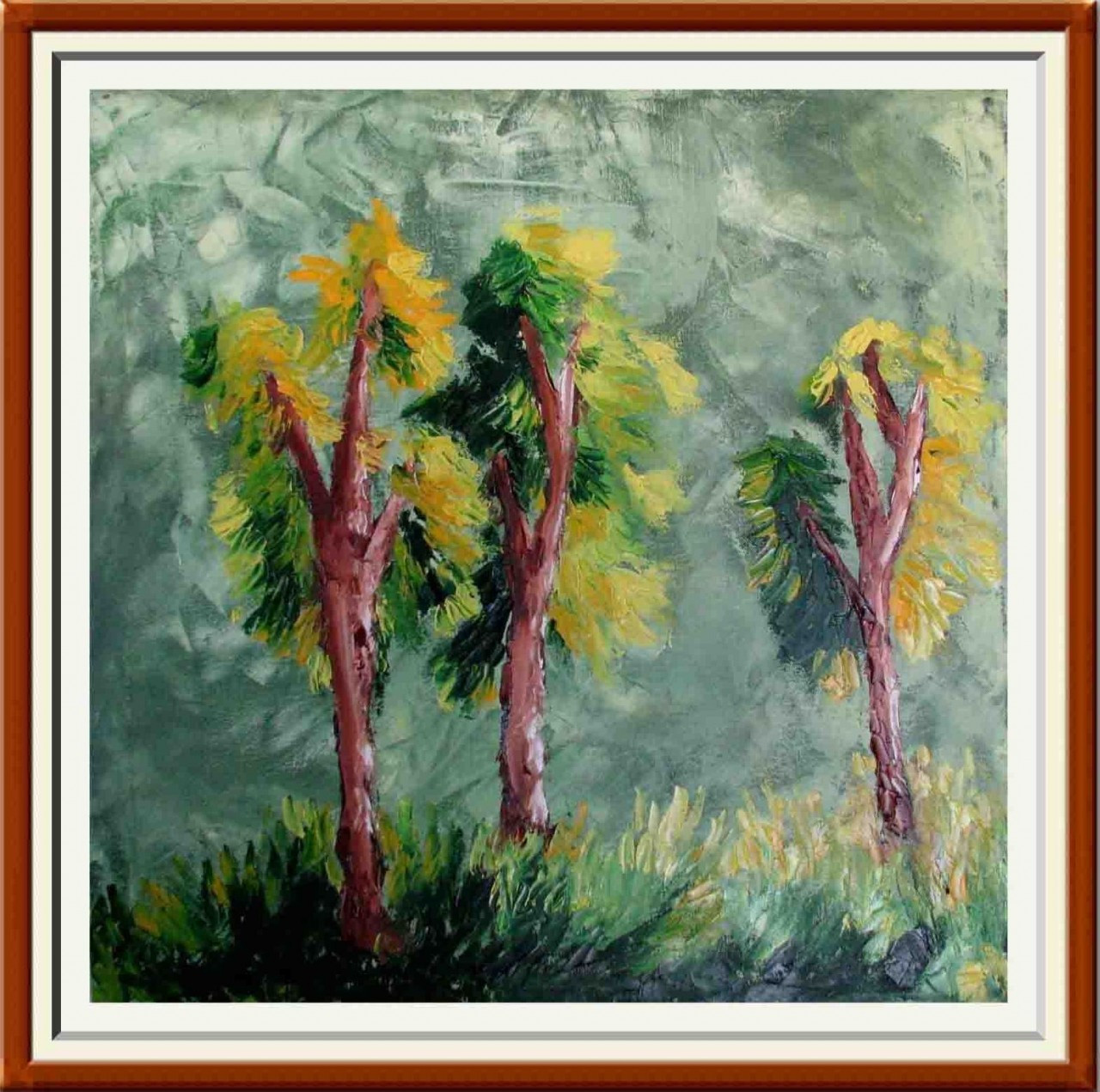 Trees - 25in X 25in (Border Framed),ART_AAWA01_2525,Artist Annapurna ...