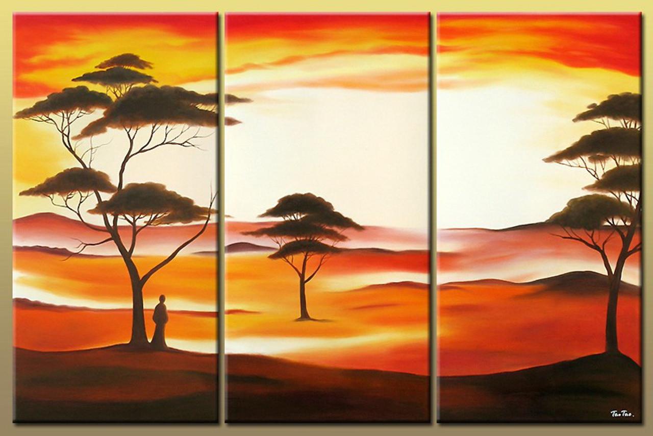 Landscape Desert Man In Painting Tree Trees