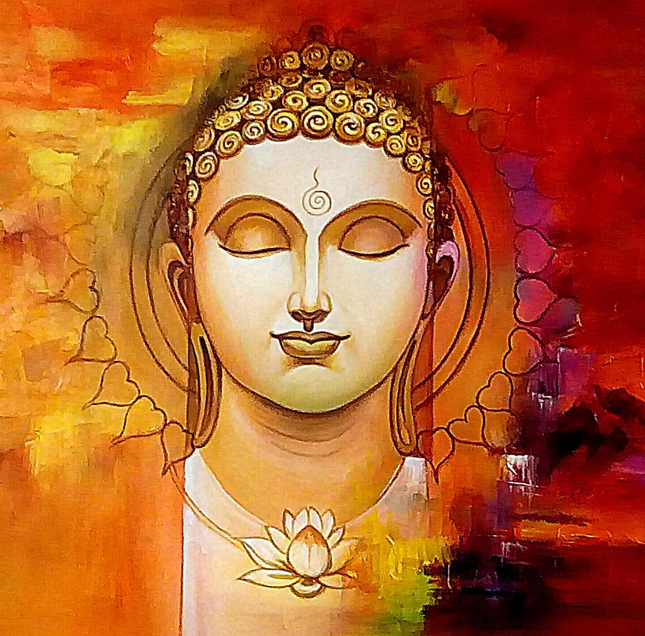 Buy Orange Buddha With Lotus By Vekkas Mahalley Rs 8590 Code