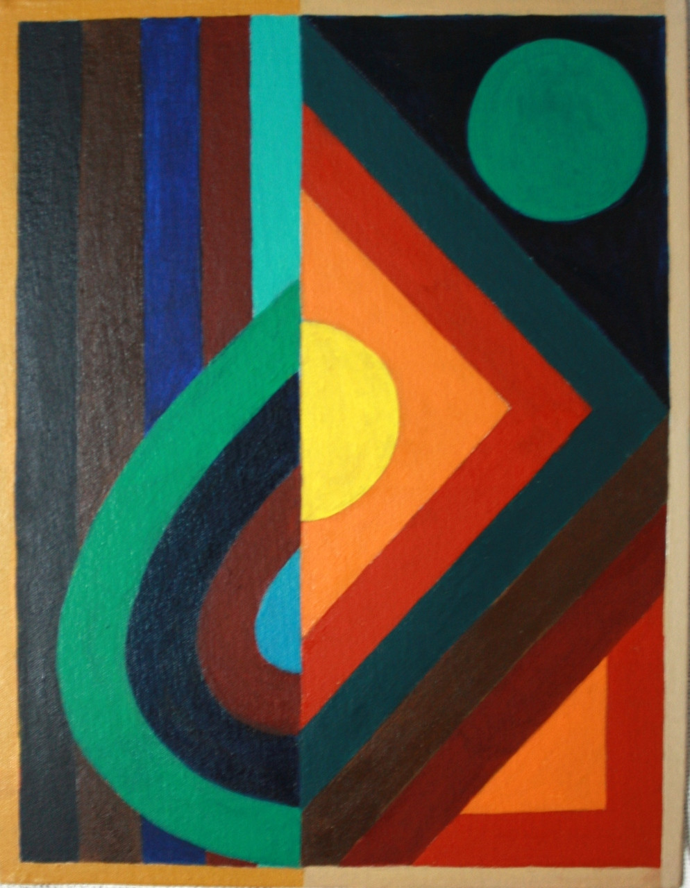 Abstract Painting Lines Line Circle Geometric