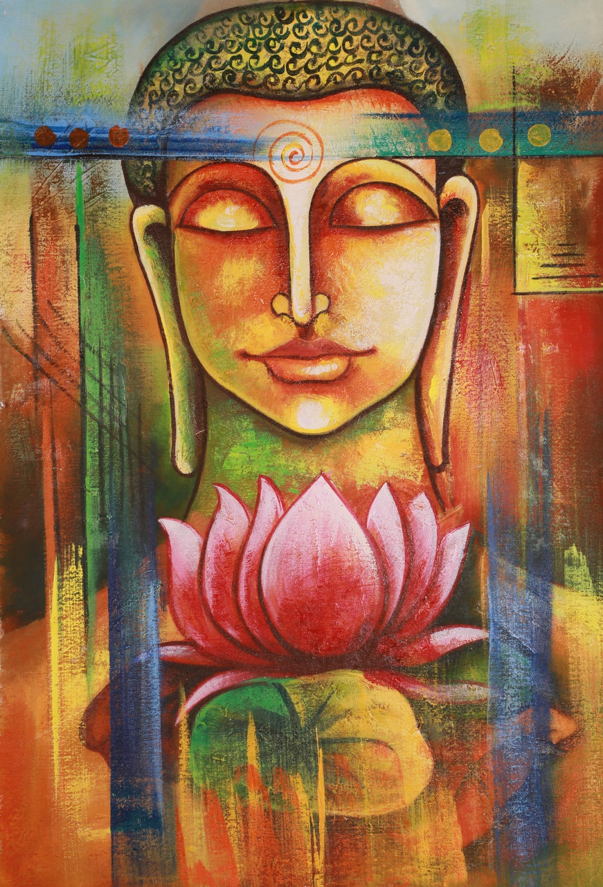 Buy Buddha With Pink Lotus By Community Artists Group Rs 6890