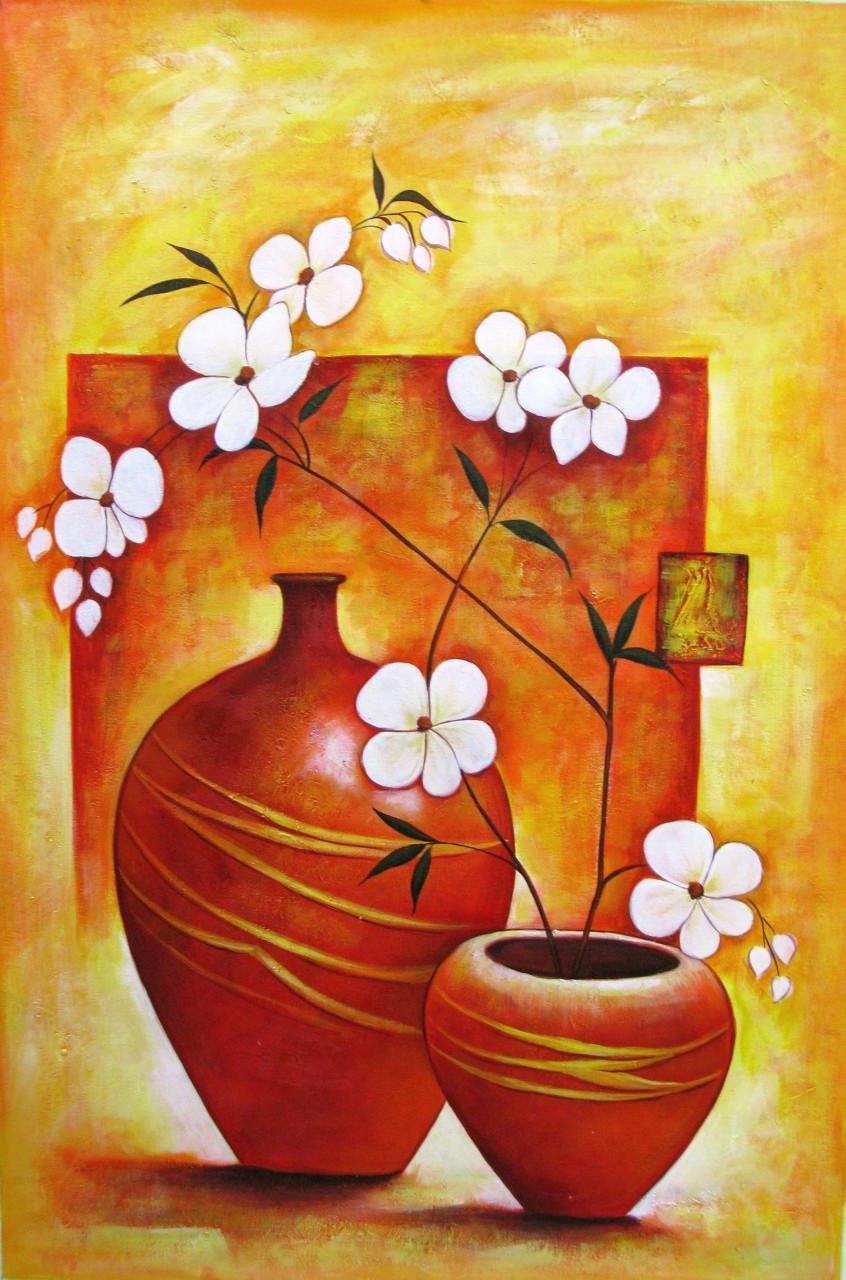 Ensemble 1 - 24in X 36in,RAJEAR16_2436,Acrylic Colors,Pottery,Vase ...