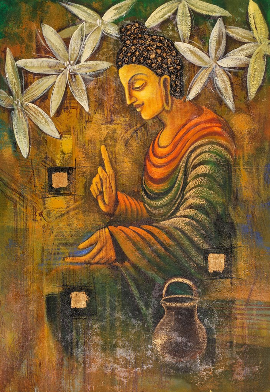 Buy buddha with white flowers by community artists group for Buy art online india