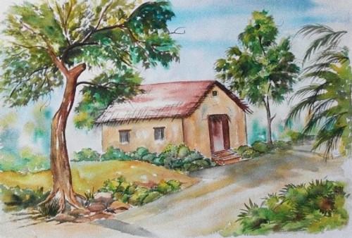 Buy Village House Handmade Painting By Shubhangi Khot