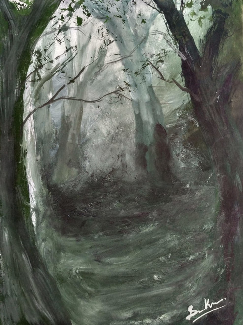 buy the depth of forest handmade painting by anirban kar code