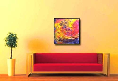 Vibrant Colors Art - 16in X 16in (Framed),ART_SYM12_1616,Acrylic ...