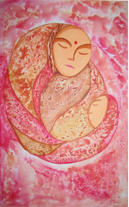 Buy Mother and child\'s love Handmade Painting by Divya Vishvakarma ...