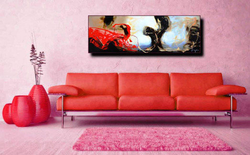 Abstract Art 48 - 59in x 20in (Framed),ART_SYM82_5920,Acrylic Colors ...