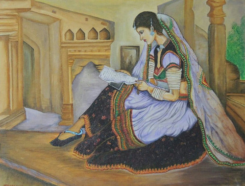 Rajasthani Dressed Beautiful Lady Reading Letter Of Her Beloved ART 2872 20153